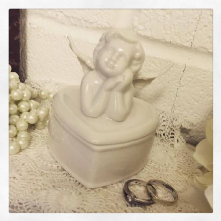 Beautiful White Ceramic Heart Shaped Angel Trinket Box